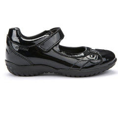 Geox J Shadow Black Patent Velcro School Shoes