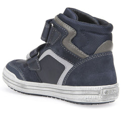 Geox J Elvis Navy Blue Velcro Ankle Boots