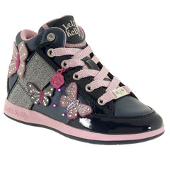 Lelli Kelly LK6202 Butterfly Lights Navy & Pink Hi Top Ankle Boots