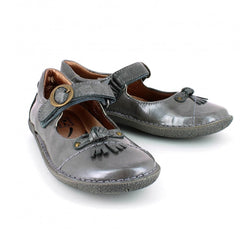 Noel Charly Pewter Patent Velcro Shoes