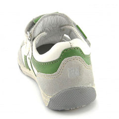 Noel Zander White & Green T Bar Velcro Shoes