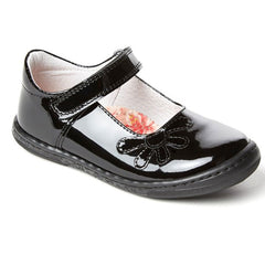 Petasil Donna Black Patent Velcro School Shoes