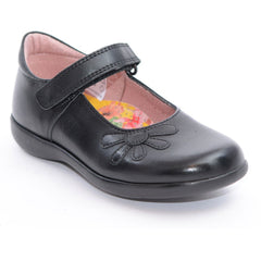 Petasil Bonnie Black Velcro School Shoes