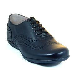 Petasil Everest Black Brogue Lace School Shoes