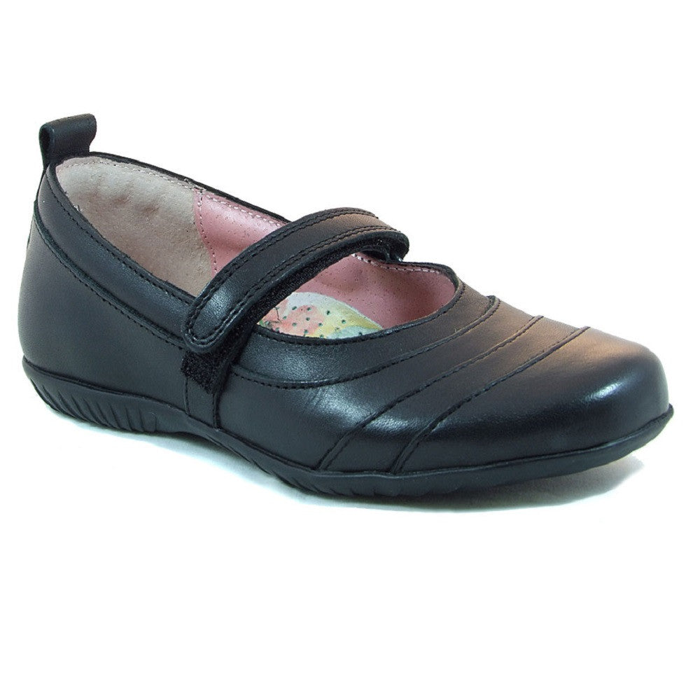 Petasil Evie Black Velcro School Shoes