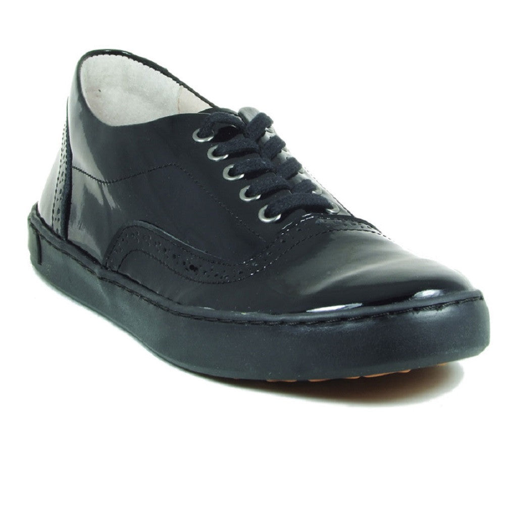Petasil Payle Black Patent Lace School Shoes