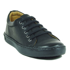 Petasil Peel Black Lace School Shoes