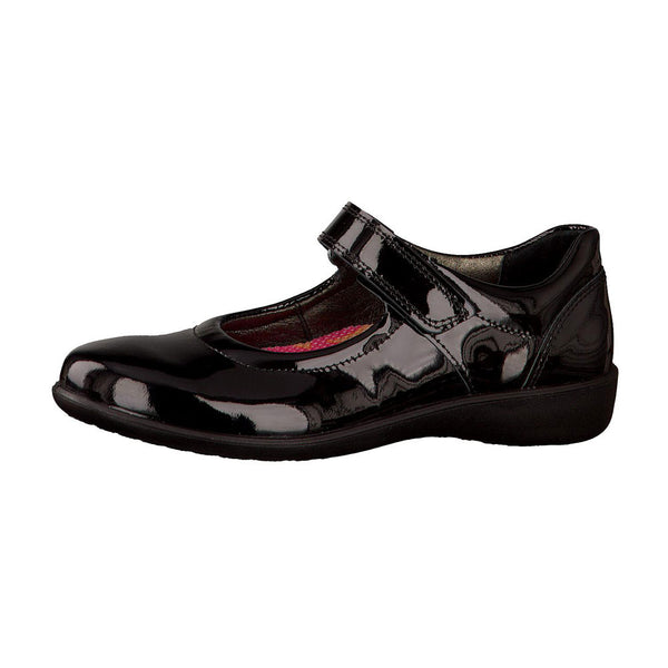 Ricosta Beth Black Patent Velcro School Shoes