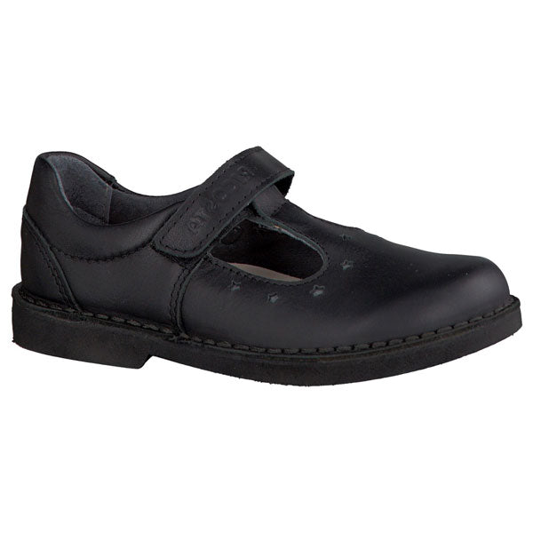 Ricosta Doris Black T Bar Velcro School Shoes