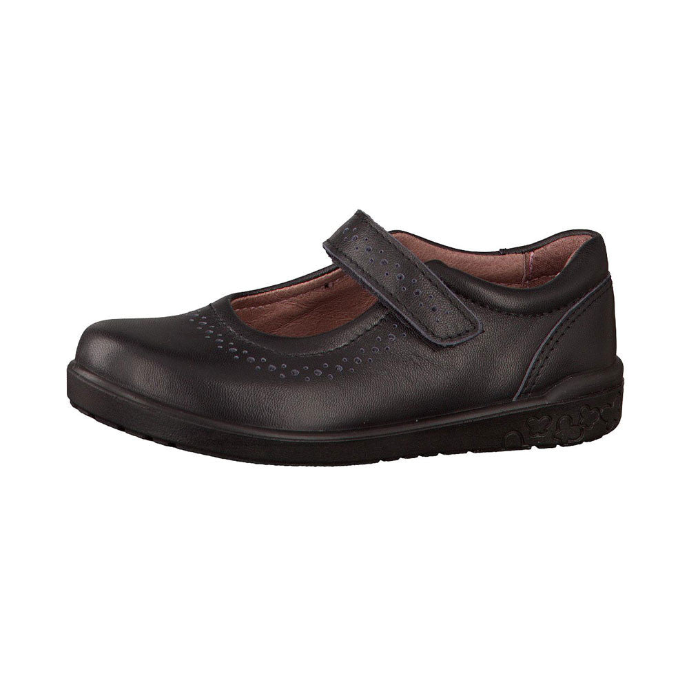 Ricosta Lillia Black Velcro School Shoes