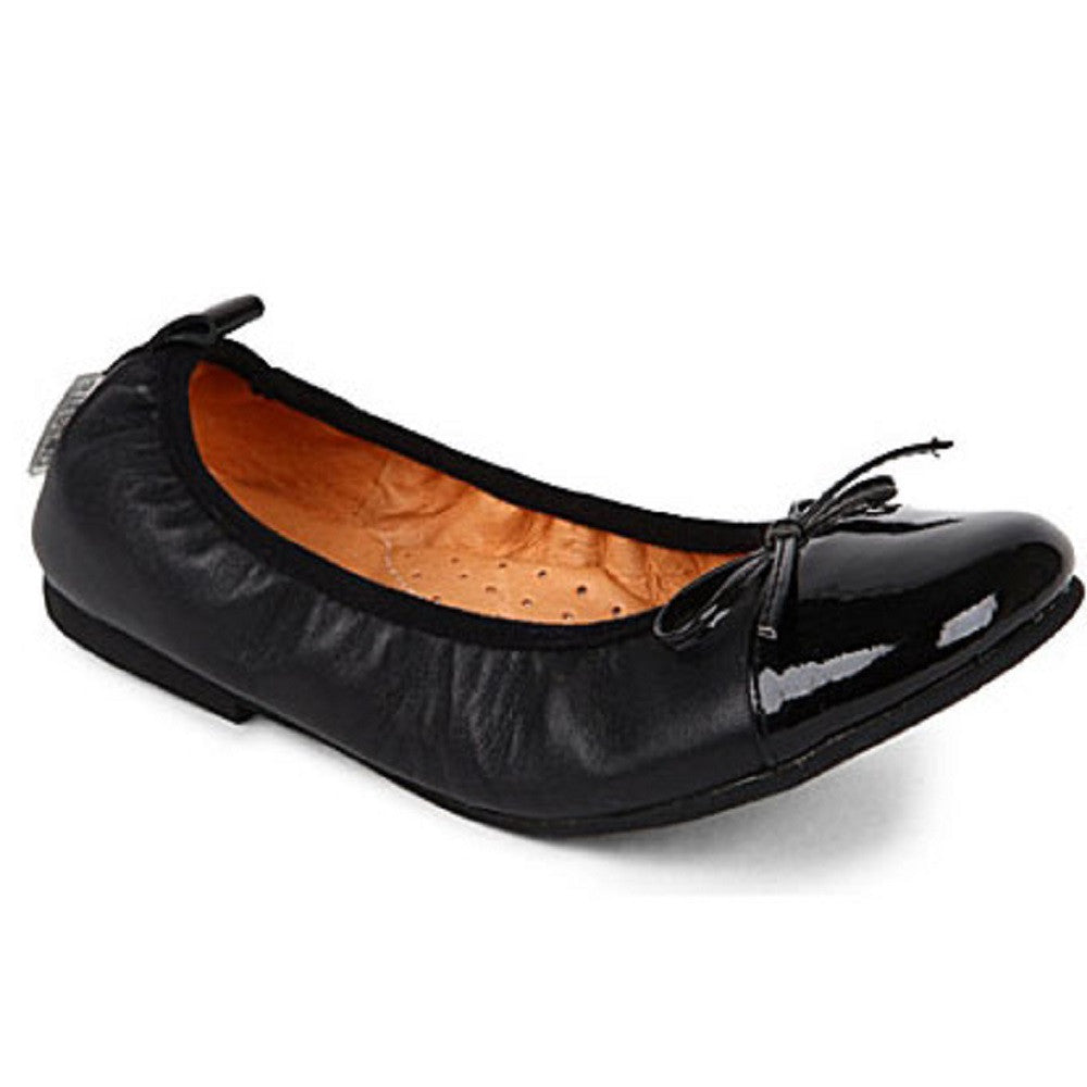 Step 2wo Lorena Black & Black Patent Ballerina Shoes