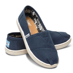 TOMS Navy Blue Classic Youths Canvas Shoes
