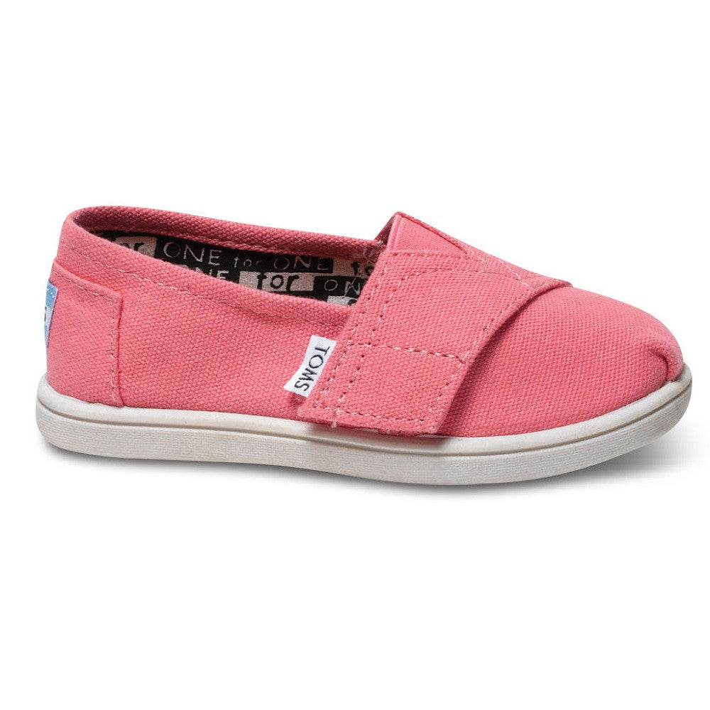 TOMS Classic Tiny Bubblegum Pink Velcro Canvas Shoes