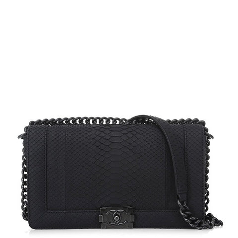 Chanel New Medium So Black Python Boy Bag