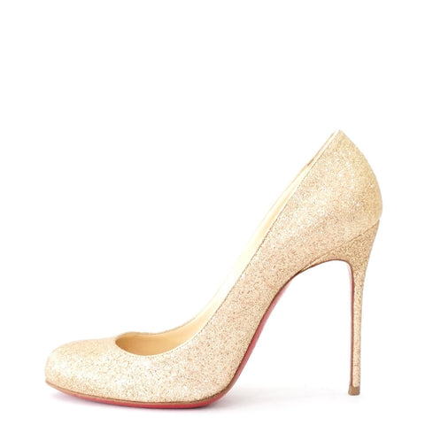 Christian Louboutin Gold Glitter Pumps 38.5