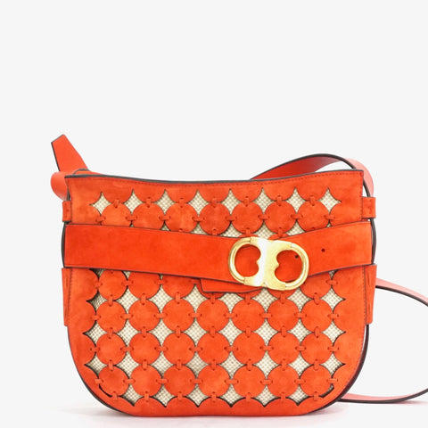 Tory Burch Poppy Red Gemini Link Cut-Out Suede Crossbody Bag