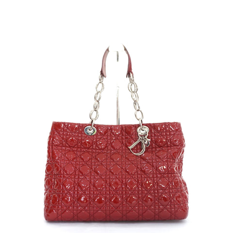 Dior Patent Cannage Dark Red Large Soft Shopping Bag