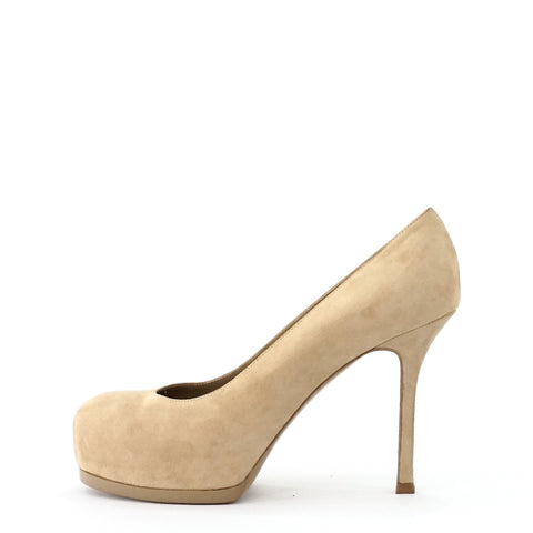 YSL Tribtoo Beige Pumps 37