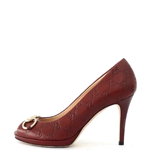 Gucci Red Monogram Peeptoe Pumps 37
