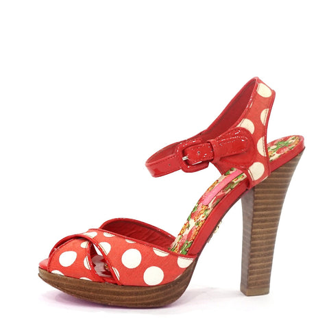 Betsey Johnson Red Polkadots Sandals 6.5M