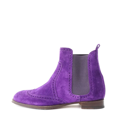 Hermes Purple Suede Boots 35.5