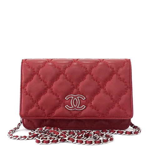 Chanel Rouge Stitched Wallet on Chain
