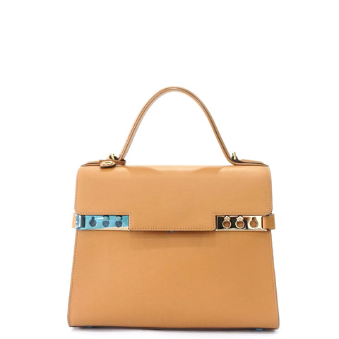 Delvaux Tempete Camel Calf Leather Gold Hardware