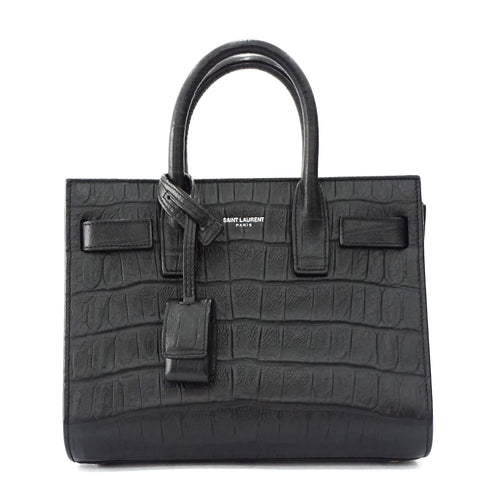 Saint Laurent Mini Sac De Jour Black Croco Bag