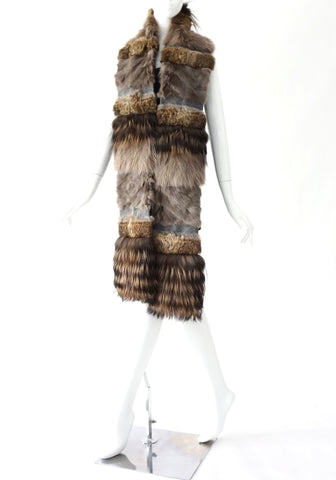 Lanvin Brown Grey Long Rabbit Fur