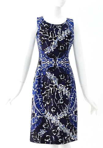 Oscar De La Renta Blue Multicolor Dress 4