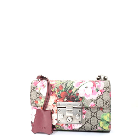 Gucci GG Supreme Monogram Blooms Small Padlock Shoulder Bag