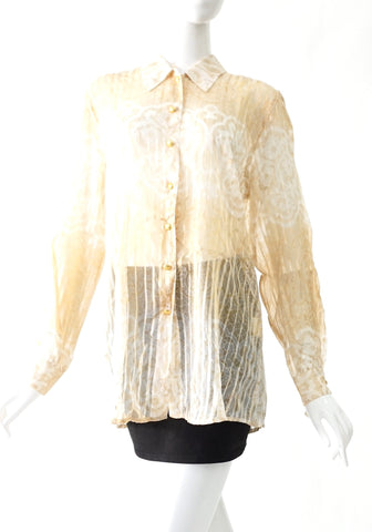 Escada Printed Shirt Sheer Silk 38