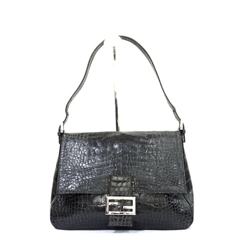 Fendi Black Alligator Skin Vintage Bag
