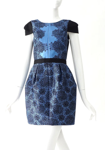 Tibi Blue Black Lace Mini Dress 2