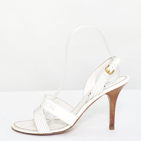 Louis Vuitton White Perforated Logo Patent Leather Sandals 38.5