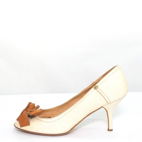 Miu Miu Canvas Peeptoe Pumps 37.5