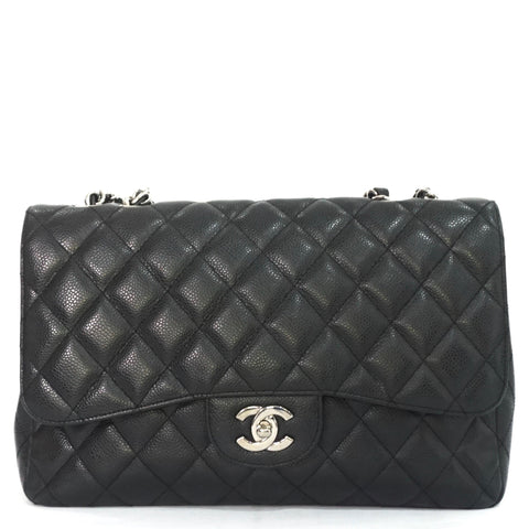 Chanel Black Caviar Jumbo Single Flapbag SHW