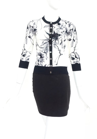Karen Millen Black and White Flower Pattern Cardigan 2