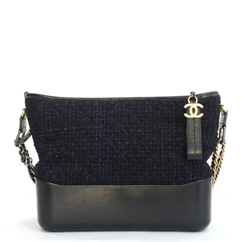 Chanel Navy Blue Tweed/Calfskin Medium Gabrielle Bag