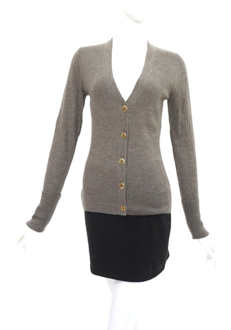 Tory Burch Brown Knit Cardigan S