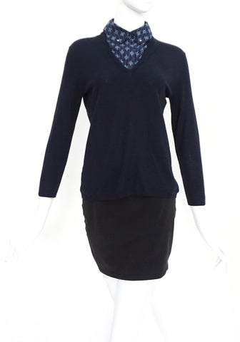 Tory Burch Navy Knit Top S