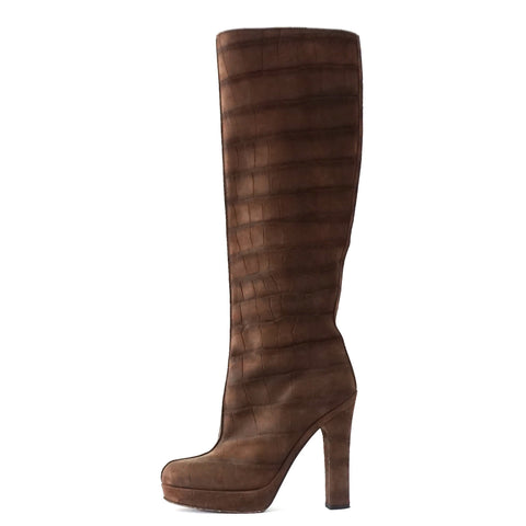YSL Brown Croco Embossed Knee Length Boots 37.5