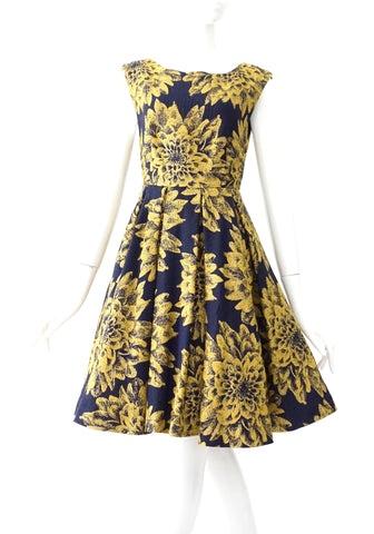 Alice and Olivia Navy Yellow Jacquard Dress 2