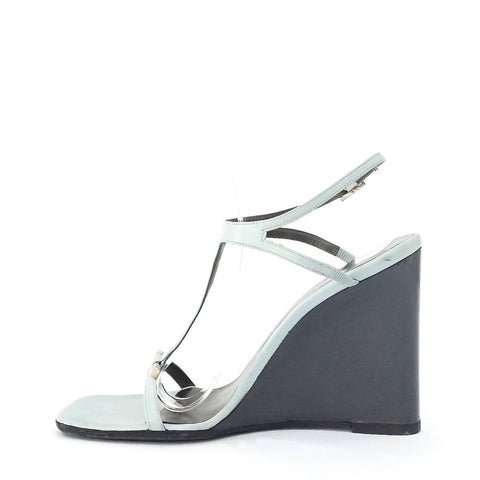 Gucci Blue Strappy Wedge Sandals 37C