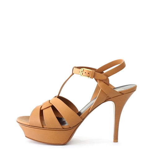 YSL Tribute New Camel Leather Platform Sandals 38