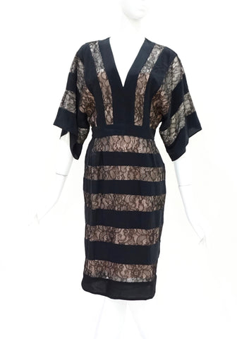 BCBG Max Azria Black and Nude Lace Dress XS