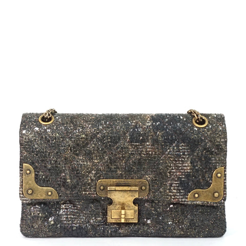 Chanel Special Edition Gray Coated Lacquered Tweed Reissue GHW