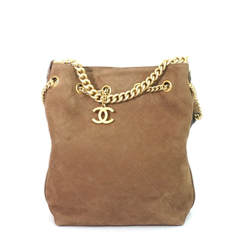 Chanel Brown Nubuck Small Drawstring Bag GHW