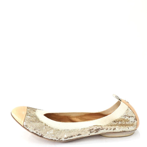 Chanel Gold Beaded Flats 37.5