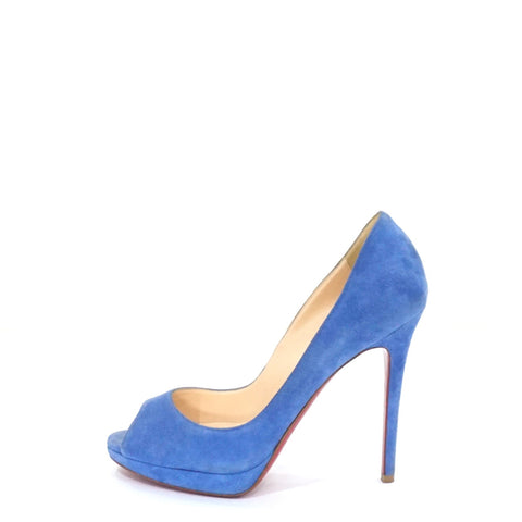 Christian Louboutin Blue Peep-Toe Pumps 36.5